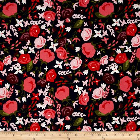 Riley Blake Posy Garden Main Navy Fabric By The Yard
