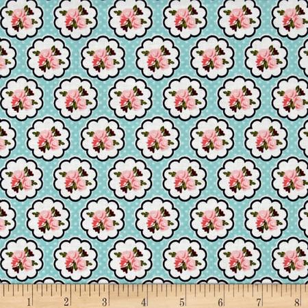 Riley Blake Posy Garden Scallop Aqua Fabric By The Yard