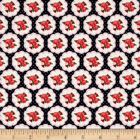 Riley Blake Posy Garden Scallop Navy Fabric By The Yard