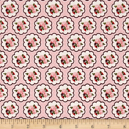 Riley Blake Posy Garden Scallop Pink Fabric By The Yard