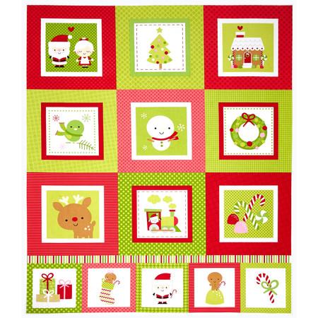 Riley Blake Santa Express 24 In. Santa Panel Green Fabric