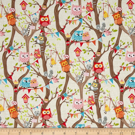 Riley Blake Tree Party Main Cream Fabric By The Yard
