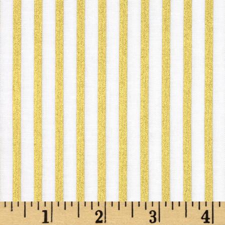 Riley Blake Wonderland Sparkle Stripe Gold Fabric By The Yard