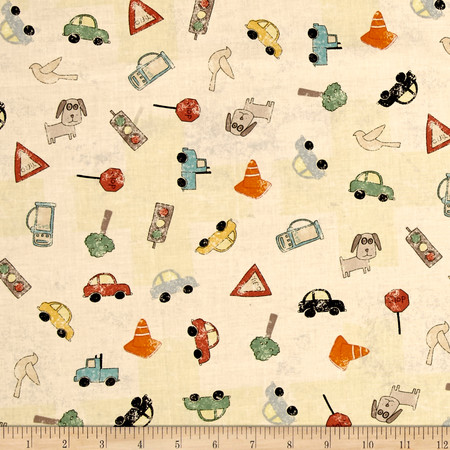 Road Trip Car/Birds Light Butter Fabric By The Yard
