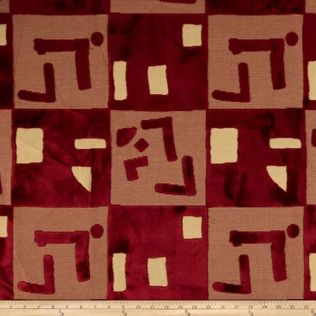 Robert Allen Promo Abstract Cut Velvet Royal Red Fabric