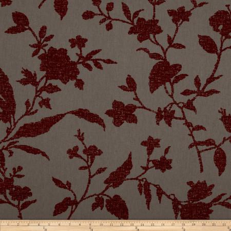Robert Allen Promo Rothko Flocked Floral Rouge Fabric