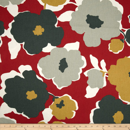 Robert Allen @ Home Top Floral Red Lacquer Fabric