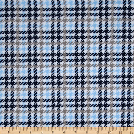 Kaufman Houndscheck Minky Cuddle Navy/Baby Blue Fabric By The Yard
