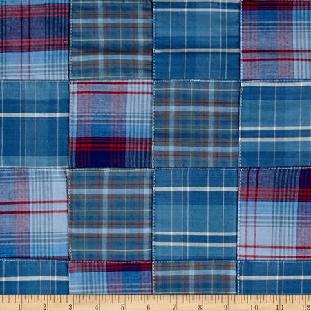 Kaufman Plaid Patchwork Blue Fabric By The Yard
