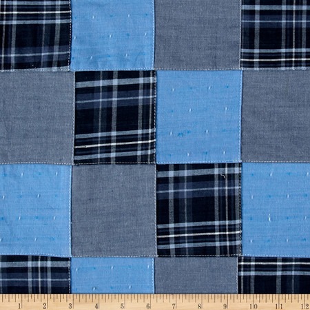 Kaufman Plaid Patchwork Solid Blue Fabric By The Yard