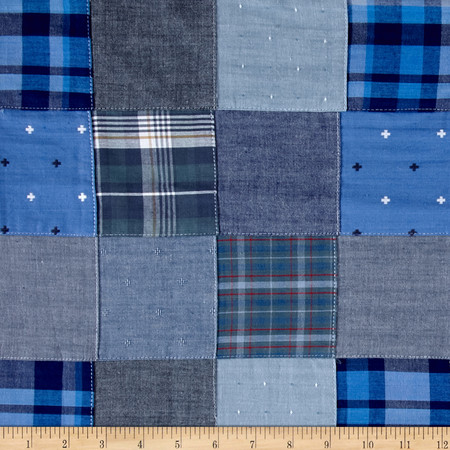 Kaufman Plaid Solid Dobby Patchwork Blue Fabric By The Yard
