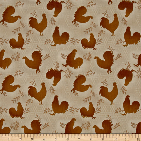Rooster Inn  Tonal Roosters Beige Fabric By The Yard