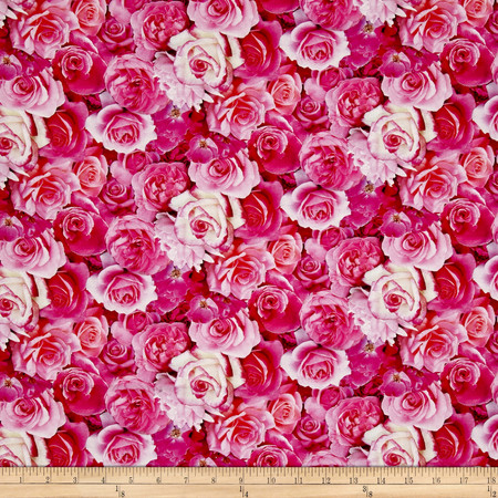 Rose Garden Digital Print Packed Roses Pink Fabric By The Yard