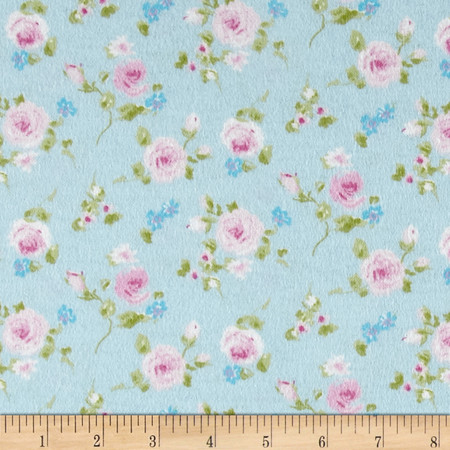 Rose Garden Flannel Blue Fabric