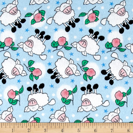 Rosy Sheep Flannel Blue Fabric By The Yard