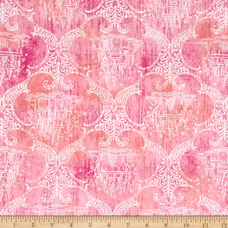 Royal Princess Castle Toile Dark Pink Fabric By The Yard
