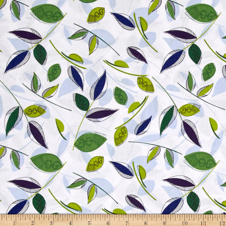 Royal Retro Abstract Leaves White Fabric