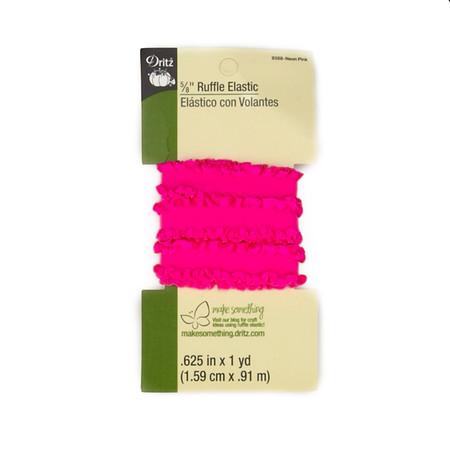 Ruffle Elastic 5/8''X1yd-Neon Pink