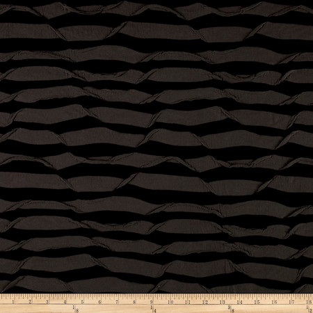 Ruffle Knit Charcoal and Black Fabric By The Yard