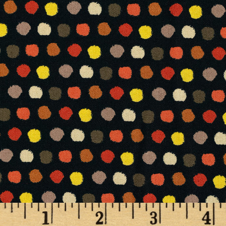 Saffron Dots Black Fabric