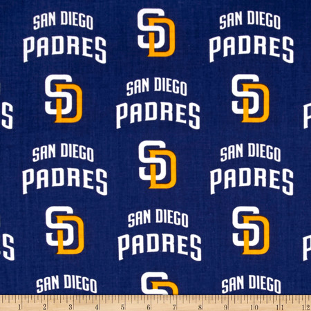 San Diego Padres Cotton Broadcloth Navy Fabric By The Yard