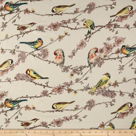 Telio San Tropez Tropical Bird Print Beige/Mauvee Fabric By The Yard