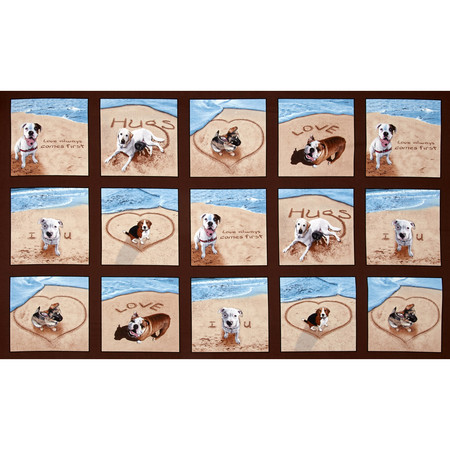 Sand Scribbles Patchwork 24 In Panel Dogs Brown Fabric By The Yard