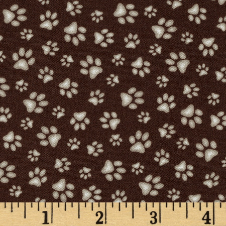 Sand Scribbles Paws Allover Brown Fabric By The Yard