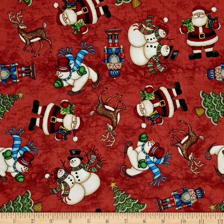 Santa Coming To Town Santa Snowmen & Reindeer Red Fabric By The Yard