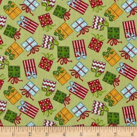 Santa Wonderland Gifts Green Fabric