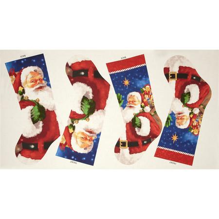Santa's Surprise 24 In. Stocking Panel Multi Fabric