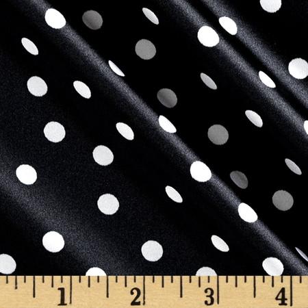 Satin Charmuese Polka Dot Black/Cream Fabric