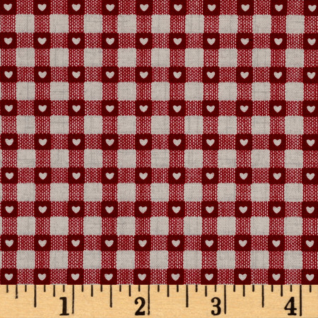 Scandi 3 Heart Plaid Linen/Red Fabric By The Yard