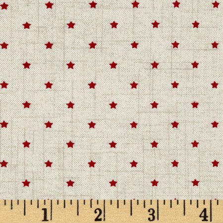 Scandi 3 Mini Star Linen/Red Fabric By The Yard