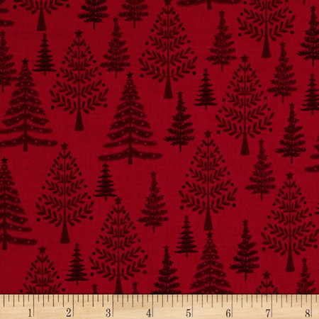 Scandi 3 Trees Red Fabric By The Yard