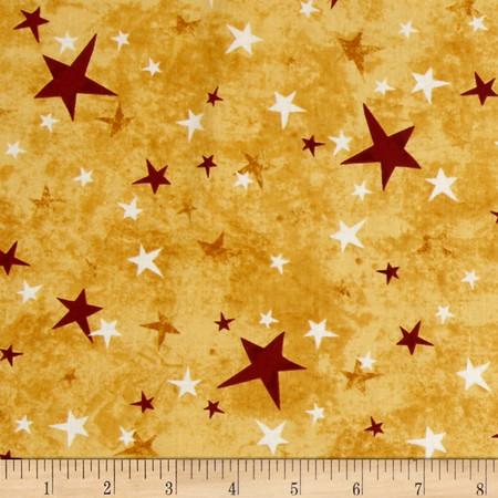 School Days Stars Gold Fabric