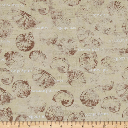 Sea Cottage Large Toss Shells & Words Khaki Fabric By The Yard