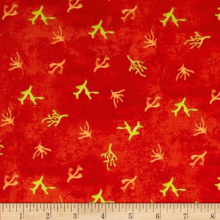 Sea Shanty Seaweed Orange Fabric