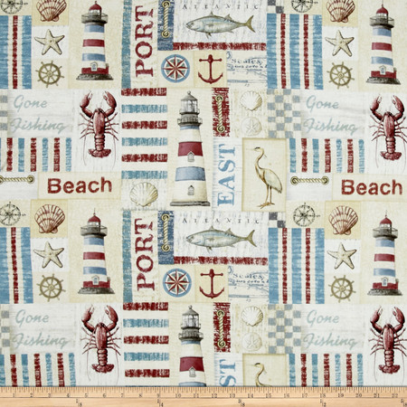 Seaside Sea Side Patch Multi Fabric By The Yard
