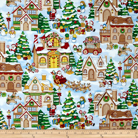 Seasons Greetings Christmas Village Allover Multi Fabric By The Yard