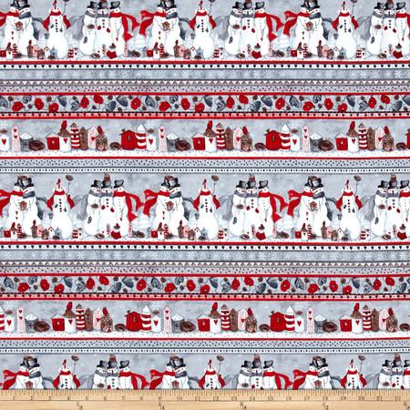 Seasons Greetings Snowman Stripe Grey/Red Fabric By The Yard