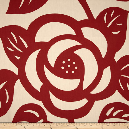 Seedlings by Thomas Paul Deco Rose Twill Red Fabric