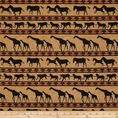 Serengeti Animal Stripe Tan Fabric