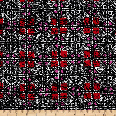 Shades Squares Rayon Crepe Print Black/Red Fabric By The Yard