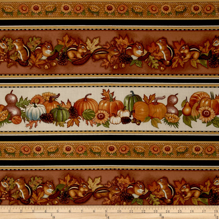 Shades of Autumn Autumn Border Cream Fabric