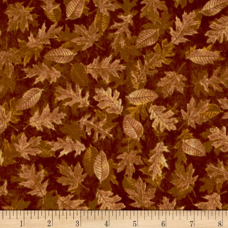 Shades of Autumn Tonal Leaves Gold Fabric