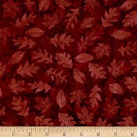 Shades of Autumn Tonal Leaves Rust Fabric