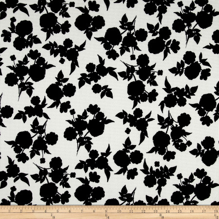 Shadow Floral Pique Knit Print Black/Ivory Fabric By The Yard
