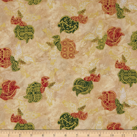 Silent Night Angels Cream  Fabric By The Yard