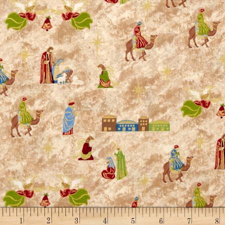 Silent Night Nativity Cream Fabric By The Yard